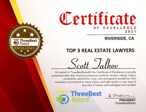Scott Talkov Three Best Rated Real Estate Attorneys in Riverside