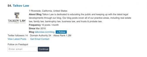 Talkov Law Top 100 Legal Blogs